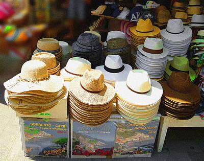 Crazy For Hats Amalfi Coast Market Italy Poster by Irina Sztukowski