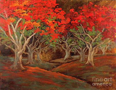 Poster featuring the painting Crazy Orange Trees by Vic  Mastis