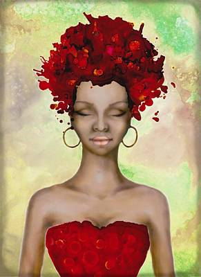 Crazy Red Hair Morning Poster by Lilia D