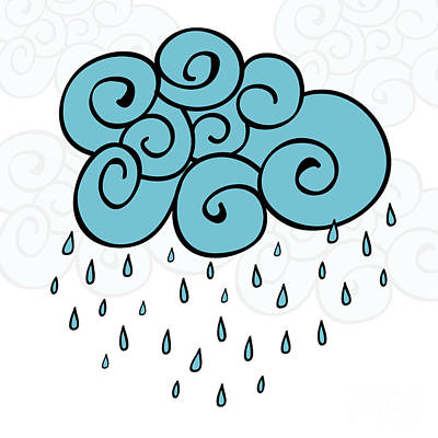 Creative Blue Cloud And Raindrops Poster