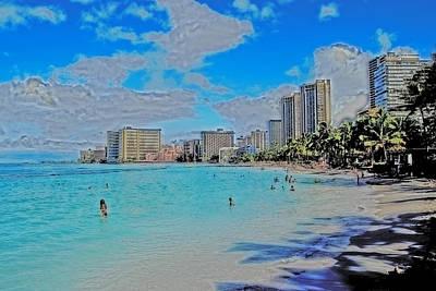 Poster featuring the photograph Creative Waikiki by Caroline Stella
