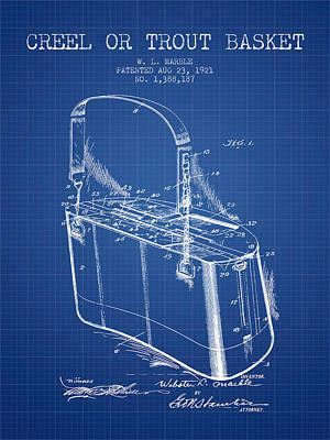 Creel Or Trout Basket Patent From 1921 - Blueprint Poster by Aged Pixel