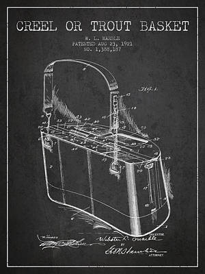 Creel Or Trout Basket Patent From 1921 - Charcoal Poster by Aged Pixel