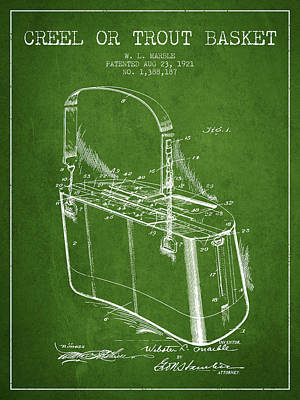 Creel Or Trout Basket Patent From 1921 - Green Poster