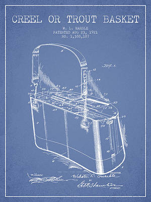 Creel Or Trout Basket Patent From 1921 - Light Blue Poster by Aged Pixel