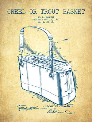 Creel Or Trout Basket Patent From 1921 - Vintage Paper Poster by Aged Pixel