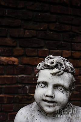 Creepy Marble Boy Garden Statue Poster