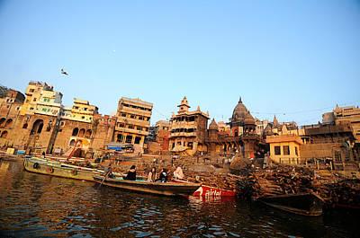 Cremation Ghat Of Varanasi Poster by Money Sharma