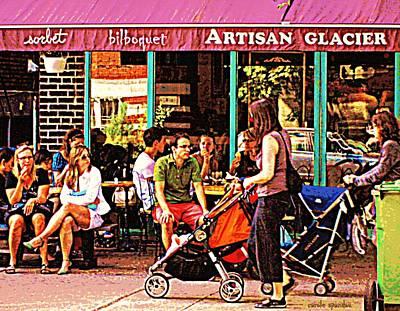 Creme Glacier Bilboquet Rue Bernard French Sidewalk Cafe Scene Montreal Art Work  Carole Spandau  Poster
