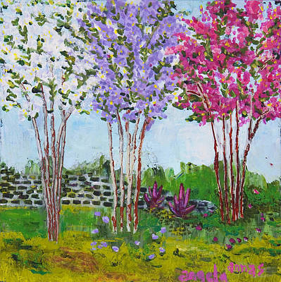 Poster featuring the painting Crepe Myrtles by Angela Annas