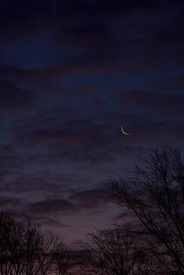 Crescent Moon And Venus Rising Poster