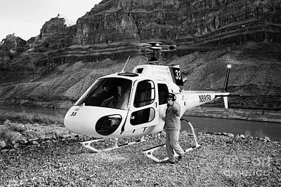Crew Member Calling Passengers Forward For Boarding Papillon Helicopter Tours Landed On Pad Down In  Poster