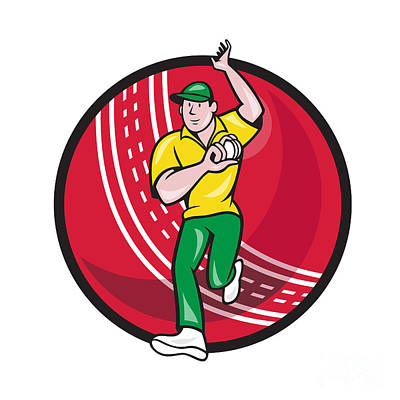 Cricket Fast Bowler Bowling Ball Front Cartoon Poster by Aloysius Patrimonio