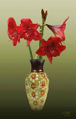 Crimson Amaryllis In Tall Vase Poster by Schwartz