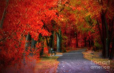 Crimson Shades Of Autumn Poster