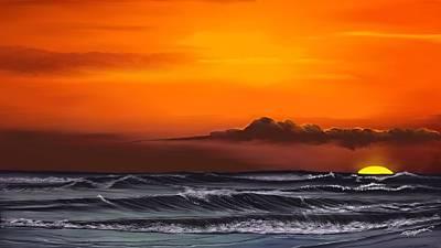 Crimson Sunset Poster by Anthony Fishburne