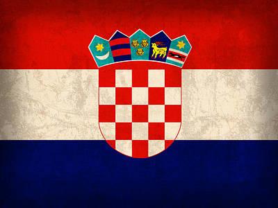 Croatia Flag Vintage Distressed Finish Poster