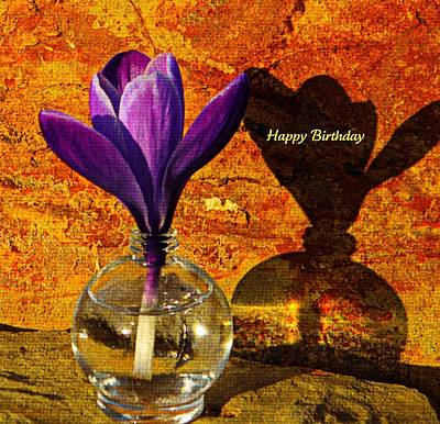 Crocus Floral Birthday Card Poster by Chris Berry