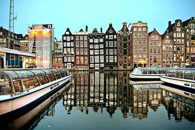 Crooked Houses On The Canal Poster by Brent Durken