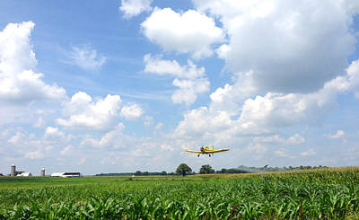 Yellow Crop Duster Poster by Charles Kraus