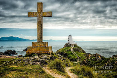Cross At Llanddwyn Island Poster by Adrian Evans