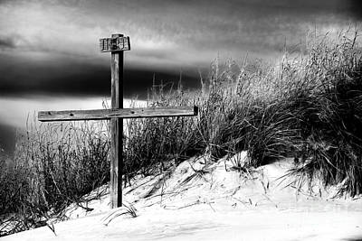 Cross At Sunset Beach Poster by John Rizzuto
