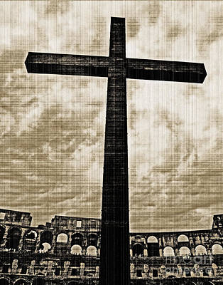 Poster featuring the photograph Cross Colosseum Rome - Old Photo Effect by Cheryl Del Toro