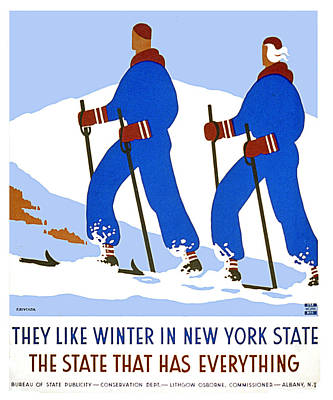 Cross Country Skiers New York State Poster by Elaine Plesser