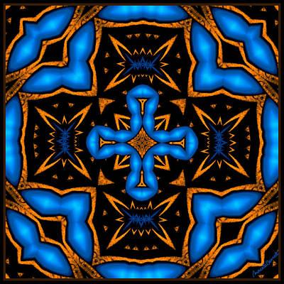Cross In Neon Blue Baroque Style Poster by Marcela Bennett