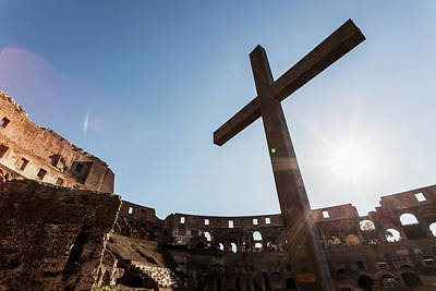 Cross In The Colosseum  Rome, Italy Poster