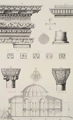 Cross Section And Architectural Details Of Kutciuk Aja Sophia The Church Of Sergius And Bacchus Poster by D Pulgher