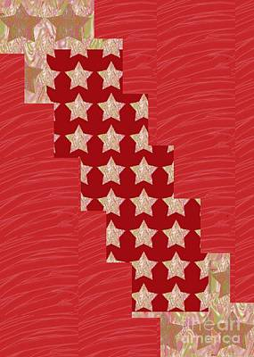 Cross Through Sparkle Stars On Red Silken Base Poster by Navin Joshi