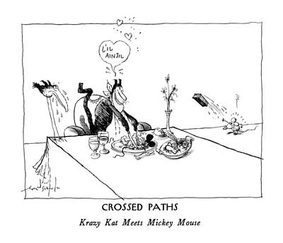 Crossed Paths Krazy Kat Meets Mickey Mouse Poster by Ronald Searle