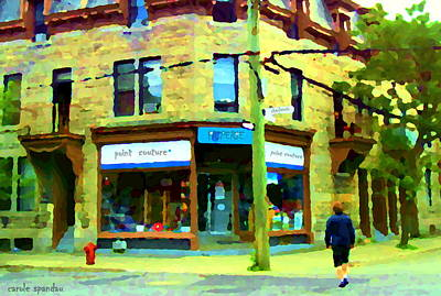 Crossing Charlevoix At Chateauguay Friperie Point Couture Pte St Charles Street Scene Carole Spandau Poster