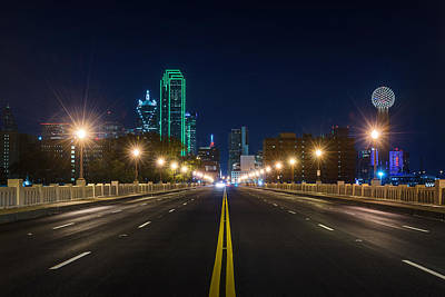 Crossing The Bridge To Downtown Dallas At Night Poster