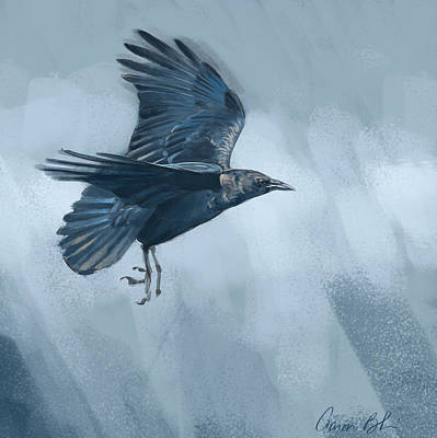 Poster featuring the digital art Crow by Aaron Blaise