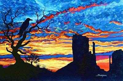 Crow In Sunset Poster by Cynthia Sampson