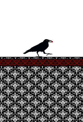 Crow With Paisly Poster by Jenny Armitage