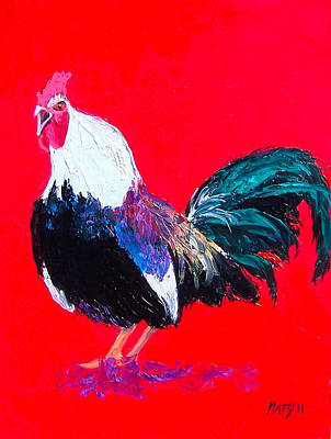 Crowing Rooster Poster by Jan Matson