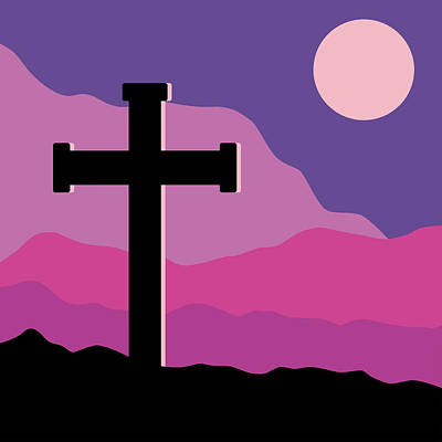 Crucifix And Moon Poster by Alain De Maximy