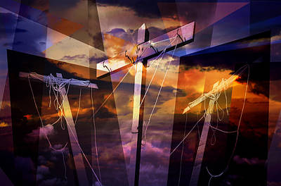 Crucifixion Crosses Composition From Clotheslines Poster by Randall Nyhof