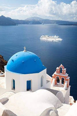 Cruise Ship In Santorini - Greece Poster by Matteo Colombo