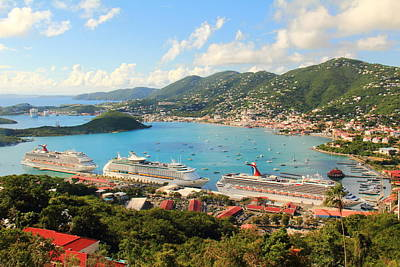 Cruise Ships In St. Thomas Usvi Poster