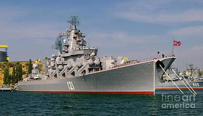 Cruiser Moskva In Sevastopol Poster by Petr Taborsky