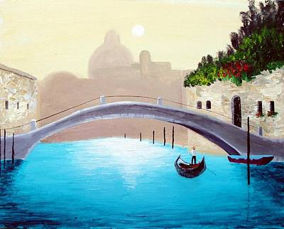 Poster featuring the painting Cruisin Venice by Larry Cirigliano