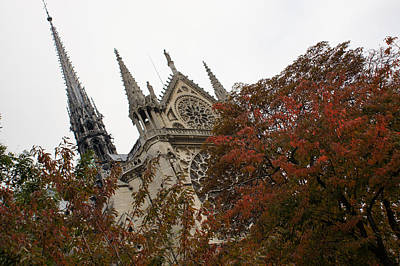 Cruising Down The Seine River And Catching A Glimpse Of Notre-dame De Paris Poster