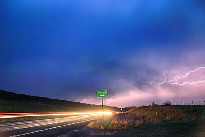 Cruising Highway 36 Into The Storm 1 Poster by James BO  Insogna
