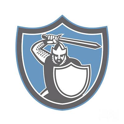 Crusader Knight Brandish Sword Shield Retro Poster by Aloysius Patrimonio