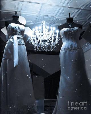 Crystal Chandelier Opulence - Elegant Paris Fashion Couture Starry Night Chandelier Illumination Poster