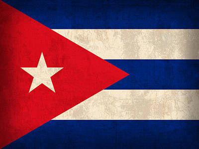 Cuba Flag Vintage Distressed Finish Poster